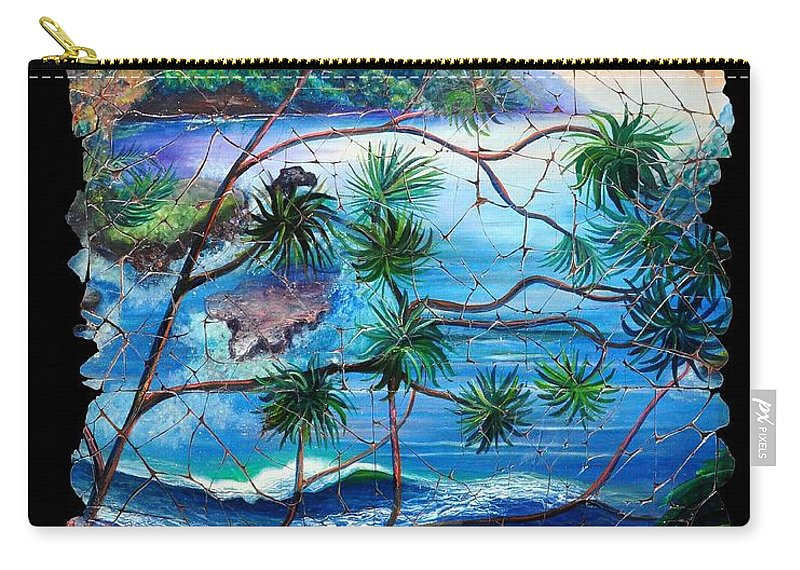 Tropical Cove Set Carry-all Pouch featuring the painting Tropical Cove Fresco Triptych 2 by OLena Art Lena Owens