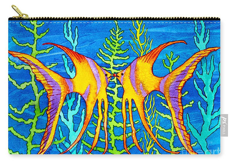 Tropical Fish Carry-all Pouch featuring the painting Tropical Fish by Teresa Ascone