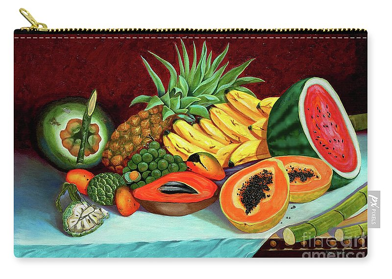 Coconut Carry-all Pouch featuring the painting Tropical Fruits by Jose Manuel Abraham