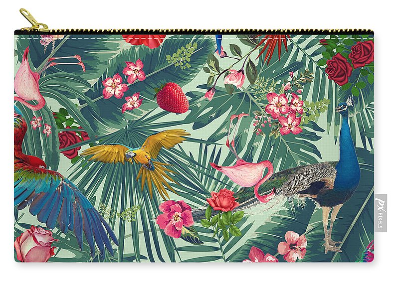 Summer Carry-all Pouch featuring the digital art Tropical Fun Time by Mark Ashkenazi