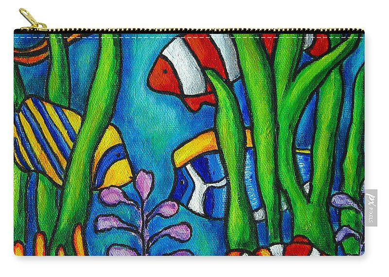 Tropical Carry-all Pouch featuring the painting Tropical Gems by Lisa Lorenz