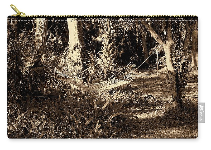 Hammock Carry-all Pouch featuring the photograph Tropical Hammock by Susanne Van Hulst