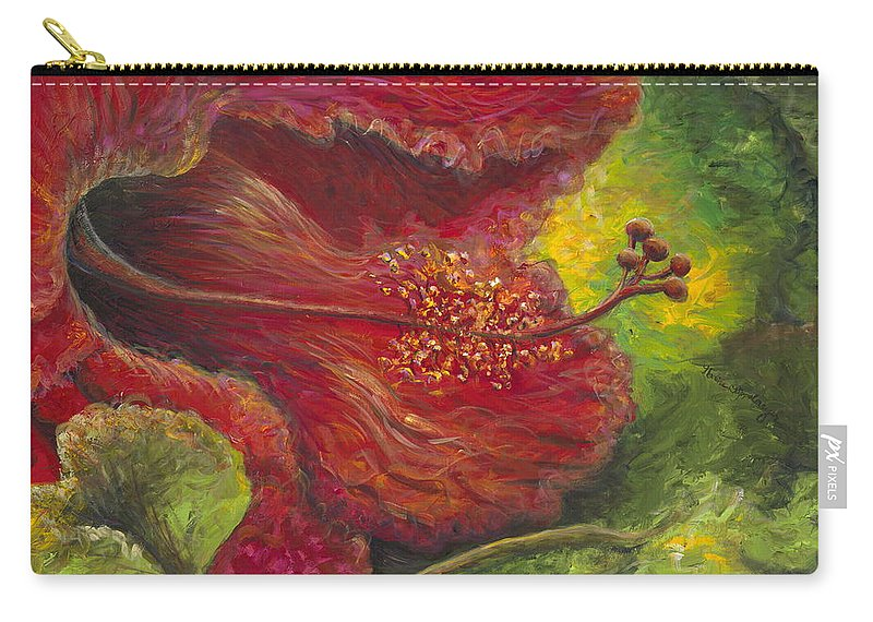 Flowers Carry-all Pouch featuring the painting Tropical Hibiscus by Nadine Rippelmeyer