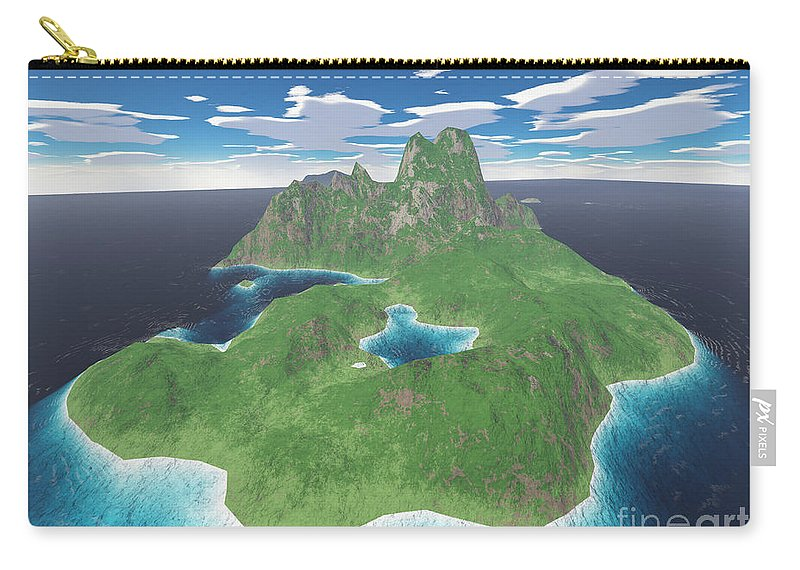 Aerial Carry-all Pouch featuring the digital art Tropical Island by Gaspar Avila