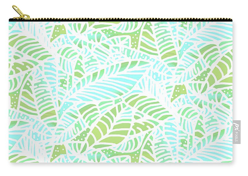 Abstract Carry-all Pouch featuring the digital art Tropical Lagoon Leaves by Karen Dyson