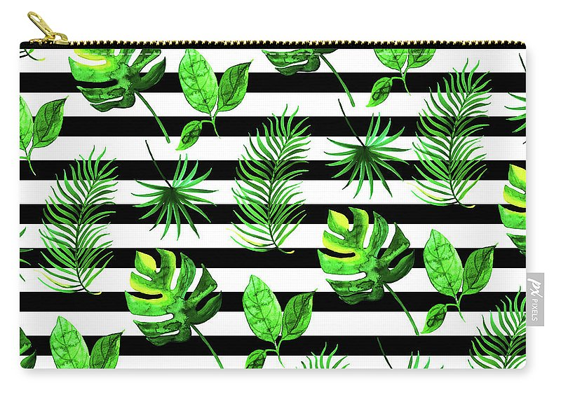 Watercolor Carry-all Pouch featuring the mixed media Tropical Leaves Pattern In Watercolor Style With Stripes by Thomas