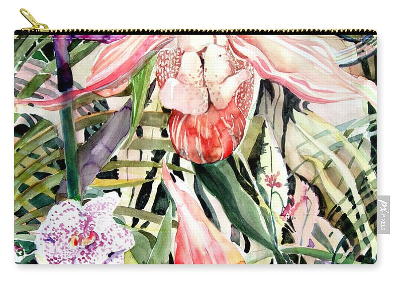 Watercolor Carry-all Pouch featuring the painting Tropical Orchids by Mindy Newman