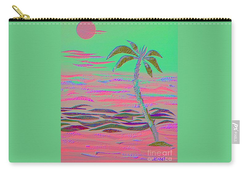 Tropical Carry-all Pouch featuring the mixed media Hot Pink Coconut Palm by Jean Clarke