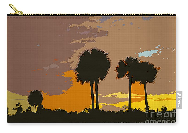 Tropical Carry-all Pouch featuring the painting Tropical Palms Work Number Three by David Lee Thompson