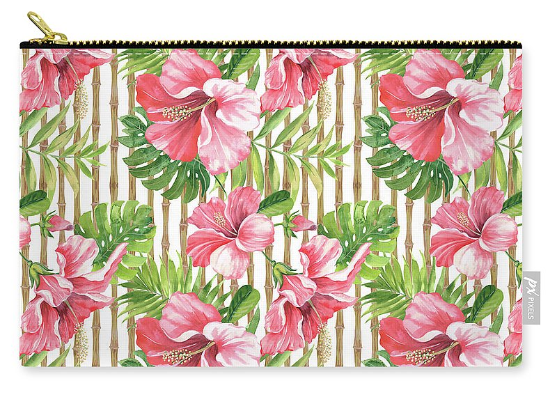 Hibiscus Carry-all Pouch featuring the painting Tropical Paradise-jp3964 by Jean Plout