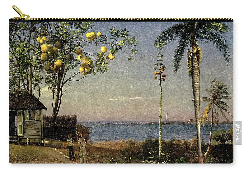 Trees Carry-all Pouch featuring the painting Tropical Scene by Albert Bierstadt