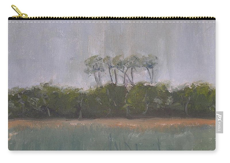 Landscape Beach Coast Tree Water Carry-all Pouch featuring the painting Tropical Storm by Patricia Caldwell