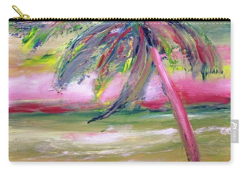 Ocean Carry-all Pouch featuring the painting Tropical Sunset In Pink With Palm Tree by Patricia Taylor