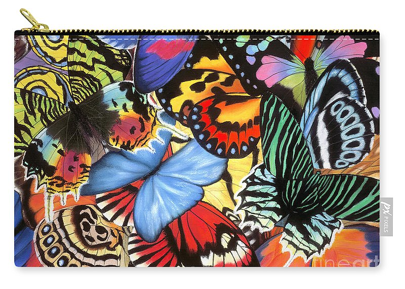 Butterflies Carry-all Pouch featuring the painting Tropical Wings by Lucy Arnold