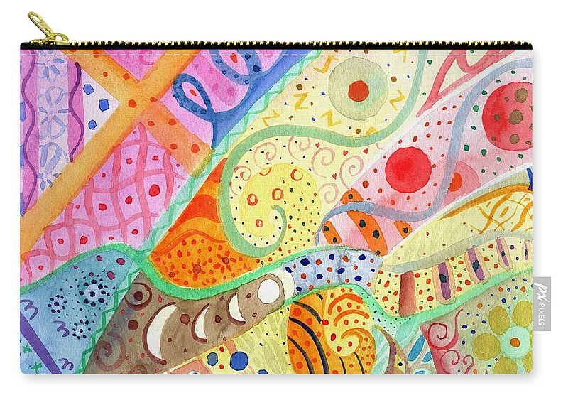 Elephant Carry-all Pouch featuring the painting Trotting Lightly by Helena Tiainen