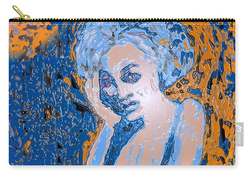 Woman Carry-all Pouch featuring the digital art Troubled Woman by Ian MacDonald