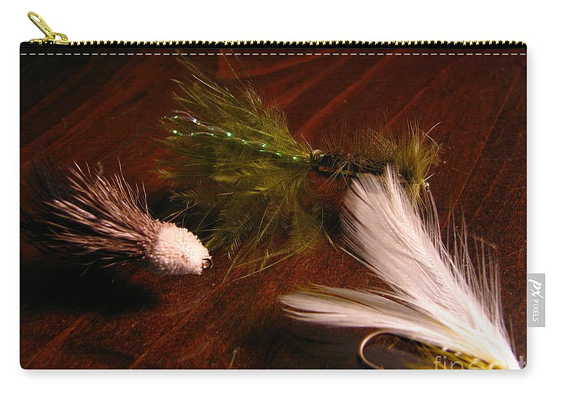 Patzer Carry-all Pouch featuring the photograph Trout Flys by Greg Patzer