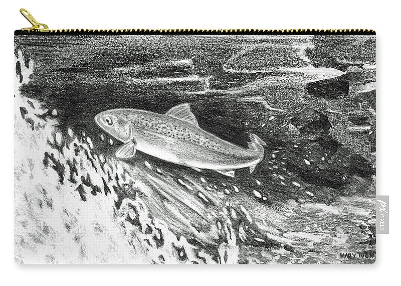 Trout Carry-all Pouch featuring the painting Trout II by Mary Tuomi
