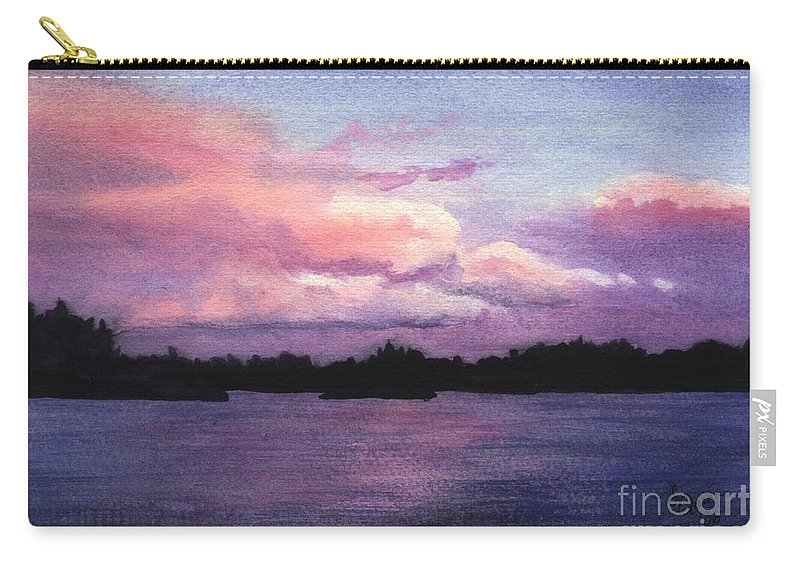 Landscape Carry-all Pouch featuring the painting Trout Lake Sunset I by Lynn Quinn
