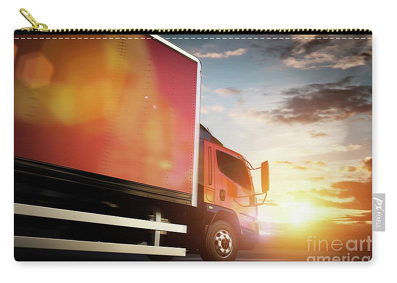 Truck Carry-all Pouch featuring the photograph Truck Speeding On The Highway. Transportation by Michal Bednarek