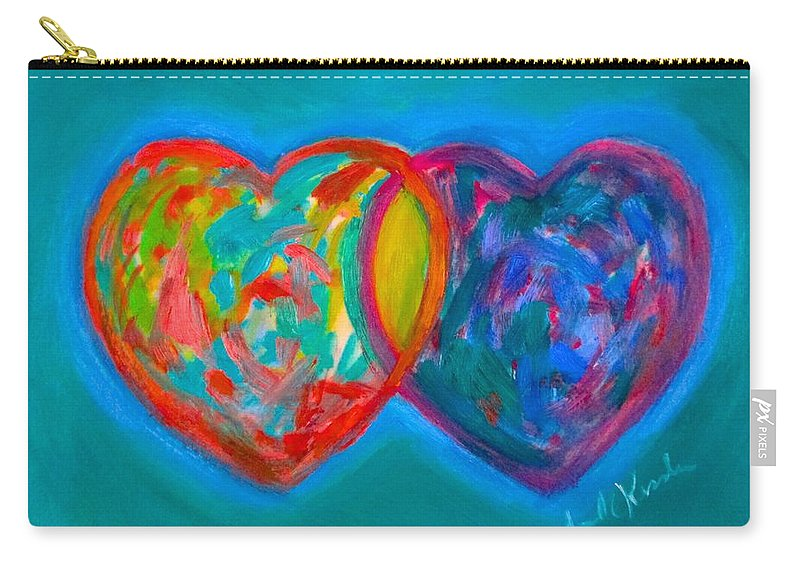 Heart Carry-all Pouch featuring the painting True Blue Hearts by Kendall Kessler