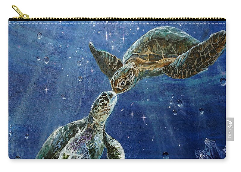 Honu Carry-all Pouch featuring the painting True Love's Kiss by Marco Antonio Aguilar