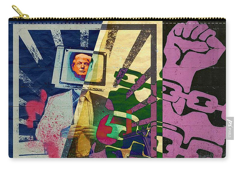 Trump The Con Wants To Shut Down The Press.... Fight For Your Freedom Carry-all Pouch featuring the digital art Trump The Con Wants To Shut Down The Press.... Fight For Your Freedom by Tony Adamo