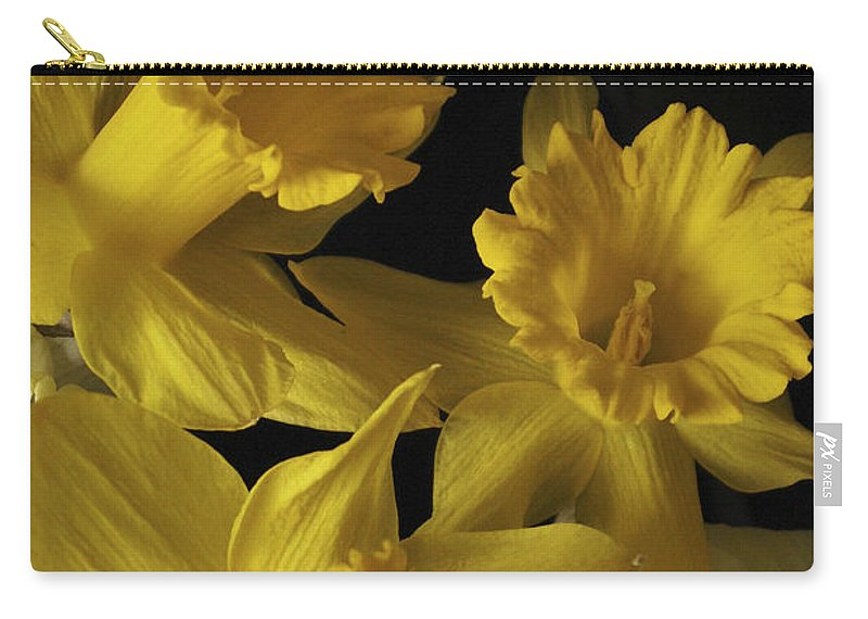 Macro Carry-all Pouch featuring the photograph Trumpet Daffodils by Nancy Griswold