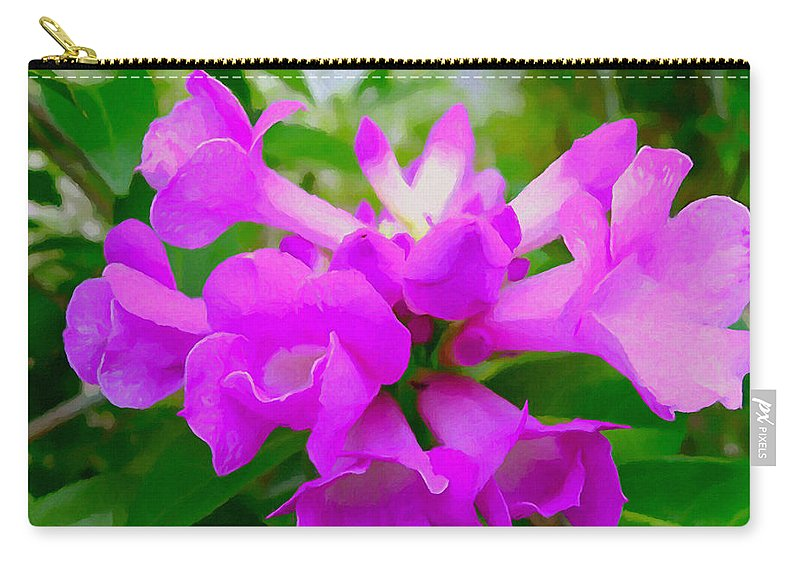 Background Carry-all Pouch featuring the painting Trumpet Flower 1 by Jeelan Clark