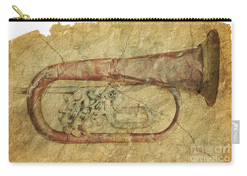 Grunge Carry-all Pouch featuring the photograph Trumpet In Grunge Style by Michal Boubin