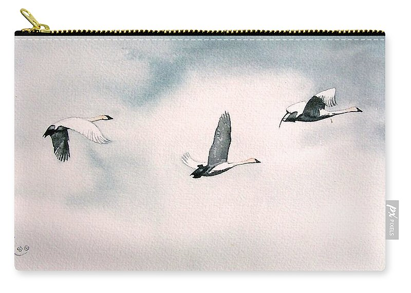 Swans Carry-all Pouch featuring the painting Trumpeters by Gale Cochran-Smith
