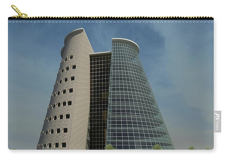 Building Rendering Carry-all Pouch featuring the digital art Truncated Building by Ron Bissett