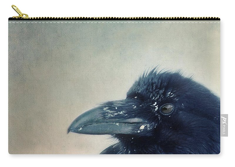 Raven Carry-all Pouch featuring the photograph Try To Listen by Priska Wettstein