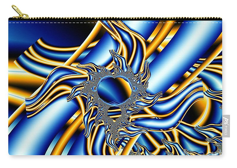 Fractal Image Carry-all Pouch featuring the digital art Tubes Of Blue And Gold by Ron Bissett