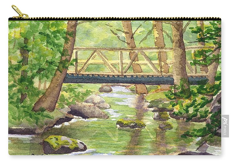 Stream Carry-all Pouch featuring the painting Tuckers Brook by Sharon E Allen