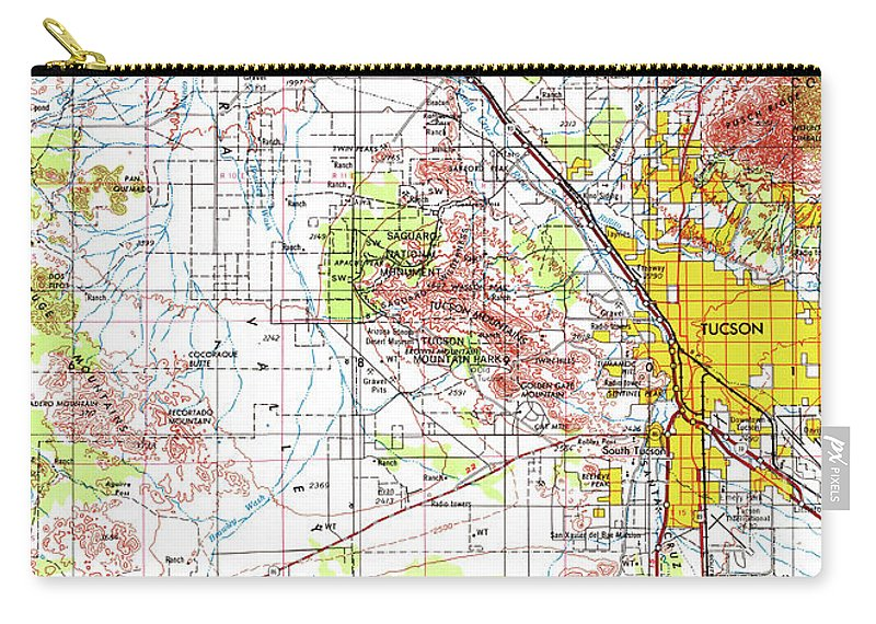 Tucson Old Map, Yellow Vintage Us Landscape Map Carry-all Pouch for ...