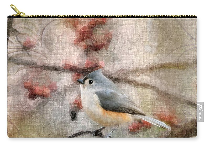 Tufted Titmouse Carry-all Pouch featuring the photograph Tufted Titmouse 2 by Betty LaRue