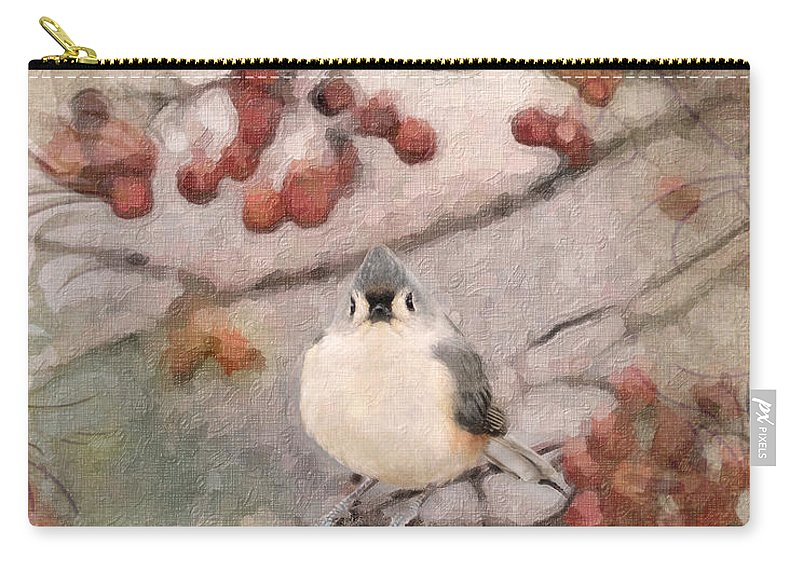 Tufted Titmouse Carry-all Pouch featuring the photograph Tufted Titmouse by Betty LaRue