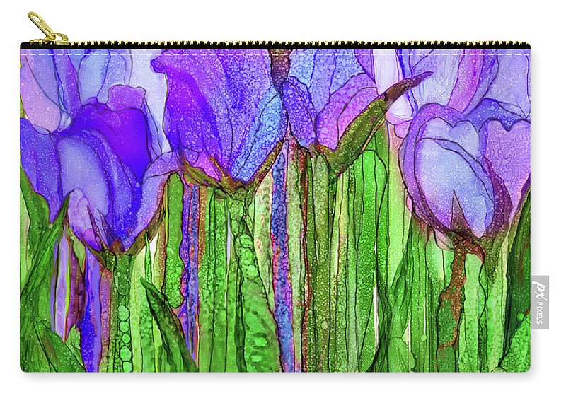 Carol Cavalaris Carry-all Pouch featuring the mixed media Tulip Bloomies 1 - Purple by Carol Cavalaris