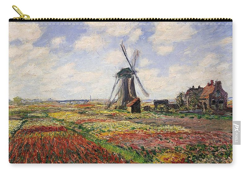 Claude Monet Carry-all Pouch featuring the painting Tulip Fields With The Rijnsburg Windmill by Claude Monet