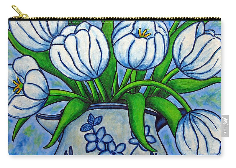 Flower Carry-all Pouch featuring the painting Tulip Tranquility by Lisa Lorenz