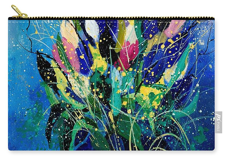 Flowers Carry-all Pouch featuring the painting Tulips 45 by Pol Ledent