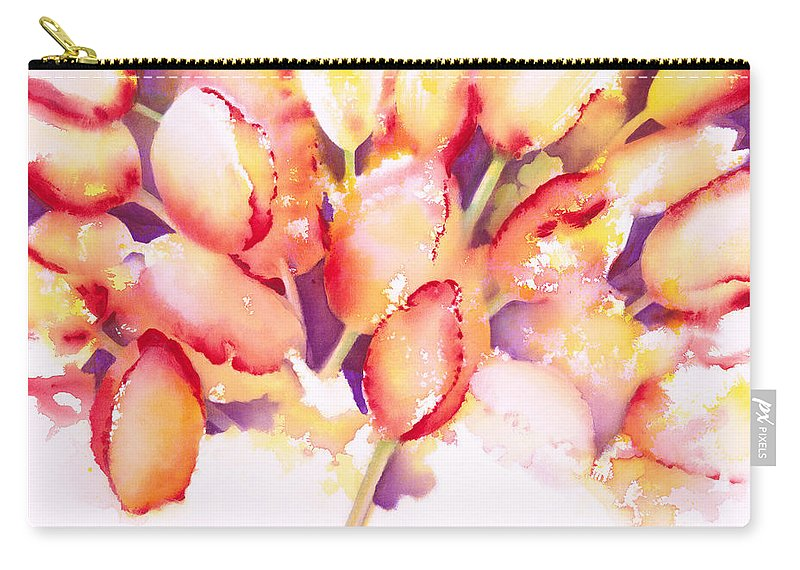 Flower Carry-all Pouch featuring the painting Tulips Are People Iv by Jerome Lawrence