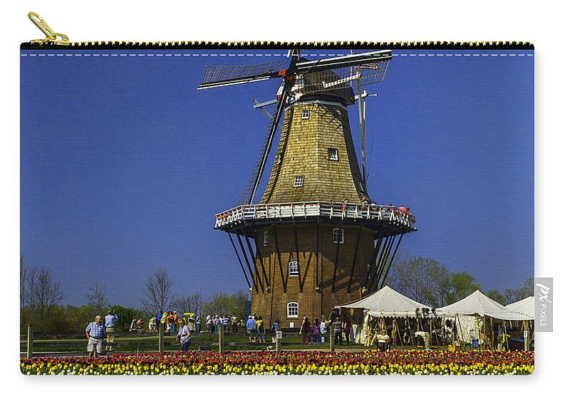 Holland Carry-all Pouch featuring the photograph Tulips At The Windmill by Nick Zelinsky