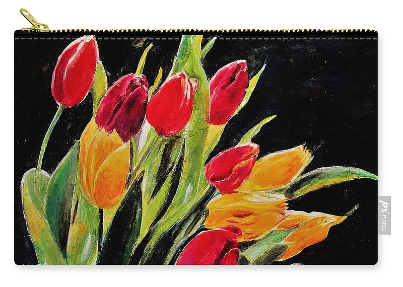 Tulip Carry-all Pouch featuring the painting Tulips Colors by Khalid Saeed