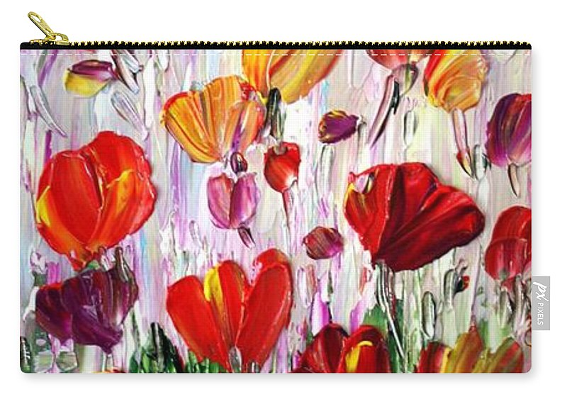 Flowers Carry-all Pouch featuring the painting Tulips Flowers Garden Seria by Luiza Vizoli