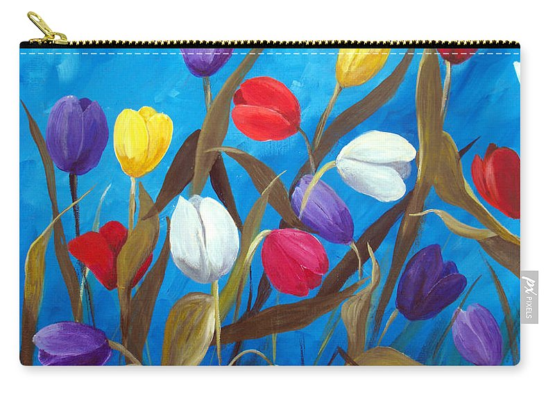 Tulips Carry-all Pouch featuring the painting Tulips Galore II by Ruth Palmer