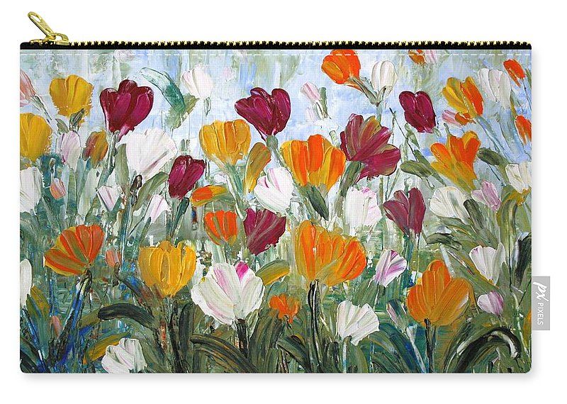 Oil Carry-all Pouch featuring the painting Tulips Garden by Luiza Vizoli