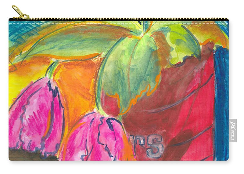 Flowers Carry-all Pouch featuring the painting Tulips In Can by Jean Blackmer