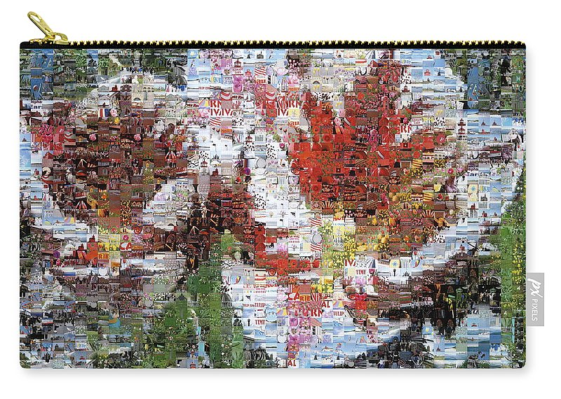 Lighthouse Carry-all Pouch featuring the photograph Tulips In Springtime Photomosaic by Michelle Calkins